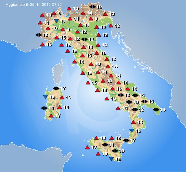 Temperature in aumento in italia dal 29 novembre 2015 cmi for Vacanze a novembre in italia