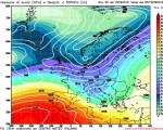 Modello GFS elaborato dal nostro Centro di Calcolo - Pressione al livello del mare e Geopontenziale a 500 hPa alle 00Z del 10 febbraio 2016