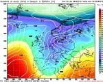Modello GFS elaborato dal nostro Centro di Calcolo - Pressione al livello del mare e Geopontenziale a 500 hPa alle 12Z del 15 febbraio 2016