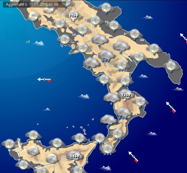 Maltempo Sud Italia: piogge e temporali anche intensi soprattutto sui versati Ionici