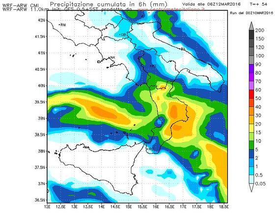Precipitazioni previste dal modello WRF del Centro Meteo Italiano per la notte di domani