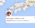Terremoto oggi Giappone, 14 aprile 2016: forte scossa M 6.1 sull'Isola Kyushu - Dati Ingv