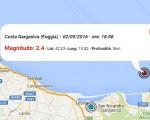 Terremoto oggi Puglia, 2 maggio 2016 evento di M 2.4 distretto Costa Garganica e scossa M 2.1 in provincia di Matera - Dati Ingv