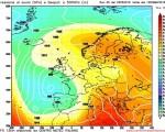 Modello GFS elaborato dal nostro Centro di Calcolo - Pressione al livello del mare e Geopontenziale a 500 hPa alle 12Z del 09 maggio 2016