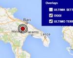 Terremoto oggi Puglia 22 maggio 2016 scossa M 2.3 provincia di Bari - Dati Ingv