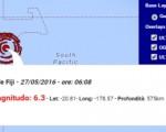 Terremoto Isole Fiji 27 maggio 2016 forte scossa M 6.3 - Dati Ingv
