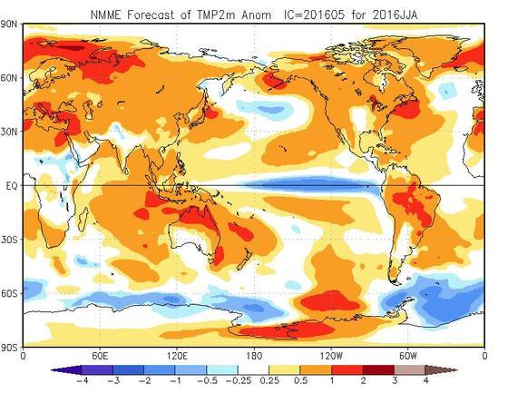 Meteo Estate 2016: caldo sopra la media soprattutto in Luglio e Agosto, termina El Nino e si va verso la Nina - cpc.ncep.noaa.gov