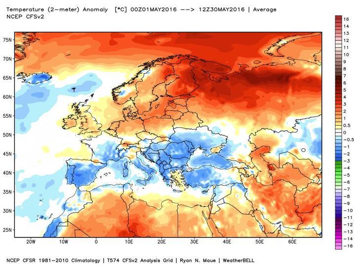 Meteo Maggio 2016: ultimo mese di primavera fresco su Europa meridionale, caldo oltre la norma su Russia e Scandinavia - models.weatherbell.com