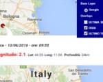 Terremoto oggi Emilia Romagna 13 giugno 2016 scossa M 2.1 provincia di Modena - Dati Ingv