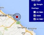 Terremoto oggi Marche 14 giugno 2016 scossa M 2.6 costa marchigiana pesarese - Dati Ingv