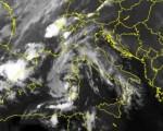 Immagine dal satellite che mostra chiaramente l'attività temporalesca diffusa sul Piemonte centro-settentrionale, più localizzata sulla Provincia di Cuneo oggi 29 giugno 2016