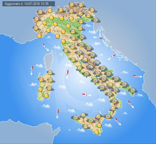 Meteo Italia in tempo reale del 17 luglio 2016