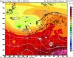 Mappa su scala europea relativa alle altezze geopotenziali previste per la prossima settimana - elaborazione grafica CMI