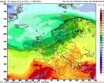 Gfs00Z - temperatura prevista all'altezza di 850 hPa per la giornata di giovedì 28 luglio - Elaborazione grafica CMI