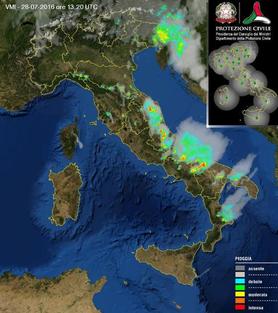 Temporali in atto: tempo instabile con fenomeni localmente intensi al Centro-Sud