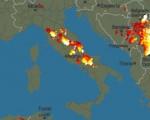 I temporali presenti alle ore 20 sull'Italia - fonte: Blitzortung