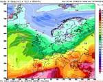GFS00Z - Valori della temperatura attesi mercoledì 10 agosto all'altezza di 850 hPa - Elaborazione grafica CMI