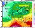 Valori della temperatura attesi all'altezza di 850 hPa il 19 agosto - Run 00z Gfs, elaborazione grafica CMI