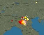 Immagine che ritrae i fenomeni temporaleschi in atto alle 21:06 di oggi 20 agosto 2016 - Blitzortung.org