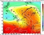 Valori pressori al suolo (hPa) e altezza geopotenziale a 500 hPa(m) attesi per il 16 settembre 2016 nella emissione di Gfs 00z di questa mattina - Elaborazione grafica CMI
