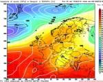 Analisi modelli - Run Gfs 00z- Altezze geopotenziali e pressione al suolo attese per l'iniizio della prossima settimana, con maltempo diffuso al Centro-Sud. Elaborazione grafica CMI