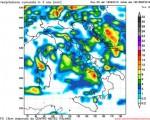 Analisi delle precipitazioni previste entro le 20 di questa sera nel pomeriggio di oggi. Rielaborazione grafica CMI a scala 12 km su base Gfs