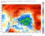 Clima Europa: anomalie positive fino a +6 gradi sulla Scandinavia, freddo sui settori orientali con scarti di -6 gradi.