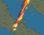 Tempo in atto: variabilità sparsa al Centro-Sud con piogge e locali temporali. Maggiori schiarite su Nord Ovest, Sardegna e regioni tirreniche 16 ottobre 2016 - fonte: Blitzortung.org