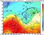 Modello GFS elaborato dal nostro Centro di Calcolo - Pressione al livello del mare e Geopontenziale a 500 hPa alle 00Z del 28 ottobre 2016