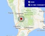Terremoto oggi Calabria 26 ottobre 2016 scossa M 2.7 provincia di Cosenza - Dati Ingv