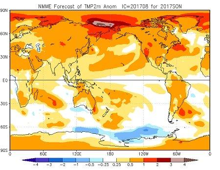 Tendenza meteo autunno 2017, ultime uscite dei modelli climatici - cpc.ncep.noaa.gov