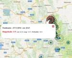 La localizzazione del sisma odierna prodotta dall'Ingv e rielaborata graficamente dal Centro Meteo Italiano, in rosso l'epicentro del sisma più intenso di magnitudo 3.9