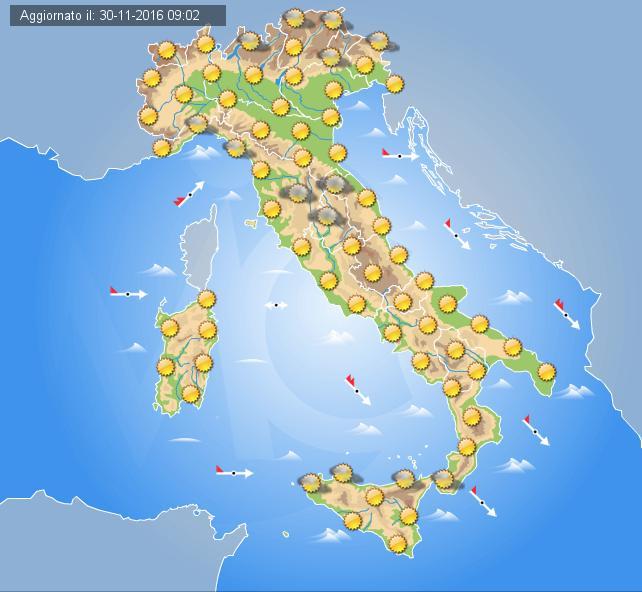 Previsioni meteo Italia 1 Dicembre 2016