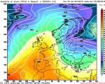 Modello GFS elaborato dal nostro Centro di Calcolo - Pressione al livello del mare e Geopontenziale a 500 hPa alle 12Z del 12 dicembre 2016