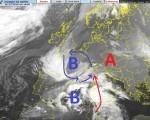 Scatto satellitare relativo a questa sera, si notino due aree distinte di bassa pressione, una posizionata nei dintorni della Francia e una in approfondimento nel Mediterraneo meridionale.  Fonte : http://www.centrometeolombardo.com/sat/