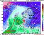 Temperature alla quota di 850hpa previste da GFS00z per la giornata di Mercoledi 28 , l'alta pressione in questo caso puntando verso il Regno Unito favorirebbe un interessamento anche della nostra penisola agli sbuffi di aria fredda in discesa sull'Europa orientale.