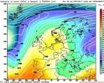 Modello GFS elaborato dal nostro Centro di Calcolo - Pressione al livello del mare e Geopontenziale a 500 hPa alle 12Z del 25 gennaio 2017