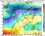 Modello GFS elaborato dal nostro Centro di Calcolo - Pressione al livello del mare e Geopontenziale a 500 hPa alle 12Z del 31 gennaio 2017
