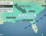 Condizioni attese nel corso della metà e nel fine settimana sulla porzione sudorientale degli Stati Uniti. Fonte: http://www.accuweather.com