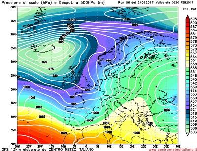 Il ritorno di un flusso perturbato e più mite Atlantico all'inizio del nuovo mese secondo GFS06z.
