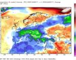Mese di Gennaio che chiuderà con temperature sotto media sull'Europa, molto freddo sull'Italia con anomalie fino a 5-6 gradi.