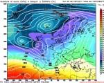 Modello GFS elaborato dal nostro Centro di Calcolo - Pressione al livello del mare e Geopontenziale a 500 hPa alle 12Z del 01 febbraio 2017