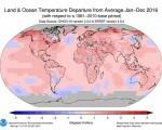 Caldo RECORD nel 2016 a livello globale è stato l'anno con le temperature più alte di sempre