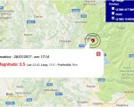 Terremoto oggi Lazio, scossa di Magnitudo 3.5 ad Amatrice alle ore 17:14. Sezione terremoti del Centro Meteo Italiano, Dati Ingv