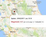 Terremoto oggi 9-02-2017: scossa M 3.5 in provincia di Perugia, in Umbria, nel primo pomeriggio