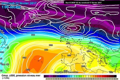 La situazione prevista da ECMWF00z per la prima metà della prossima settimana, con un allungamento dell'Anticiclone dall'Atlantico sin verso il Mediterraneo.