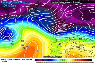 L'ipotesi a lungo termine per il fine della prossima settimana, con l'arrivo verso il Mediterraneo di nuove correnti instabili e perturbate nord Atlantiche.