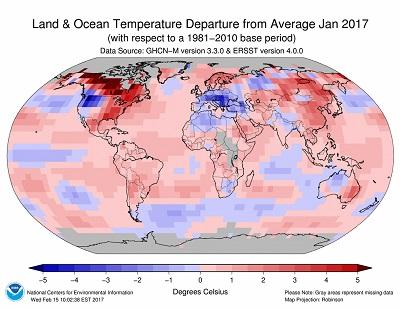 Gennaio 2017 a livello globale è stato il 3° più caldo di sempre, Europa sotto media