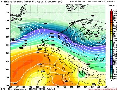 Alta pressione e correnti miti da nordovest in quota all'inizio della prossima settimana secondo GFS06z.