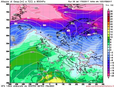 Le temperature ad una quota di circa 1500metri previste per la giornata di Martedi 21 in Europa, ove si può vedere la massa d'aria mite oceanica pilotata verso il Mediterraneo dall'espansione dell'Anticiclone delle Azzorre.